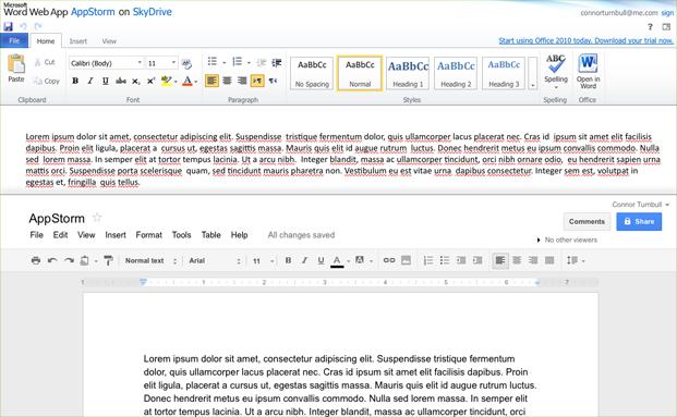 Google Docs ir Office Online dokumentų koregavimas