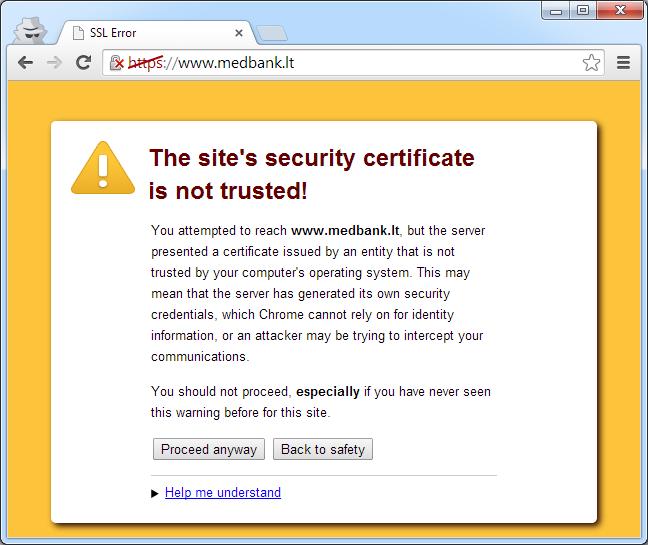 SSL sertifikatai: nepatikimas leidėjas