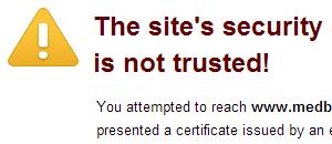 SSL sertifikatai: nepatikimas sertifikatas