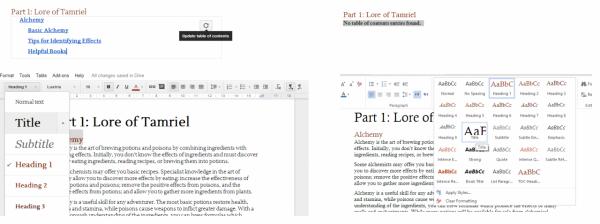 Google Docs ir Office Online palyginimas