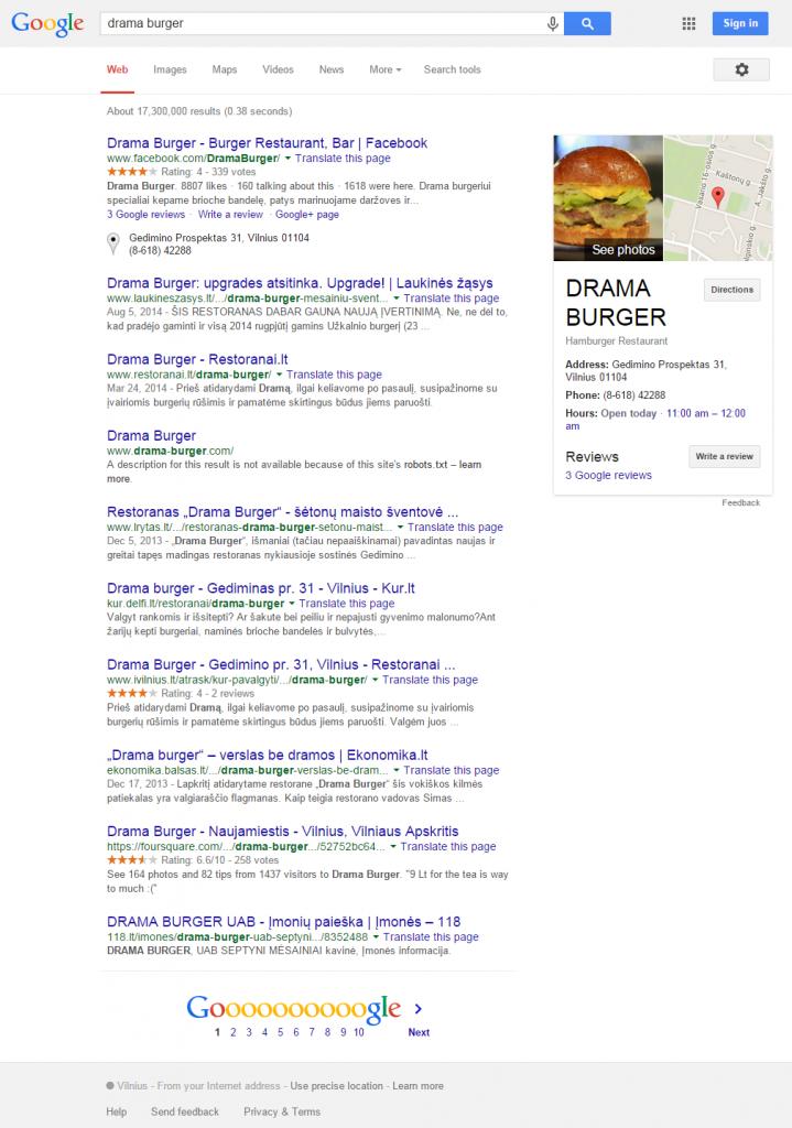 Google paieška Drama Burger