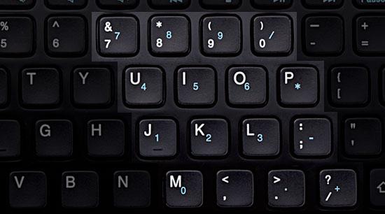 Nešiojamo kompiuterio skaičių klaviatūra